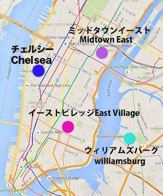 ブルーで記したエリア周辺がゲイエリアとしても有名なチェルシー Chelsea