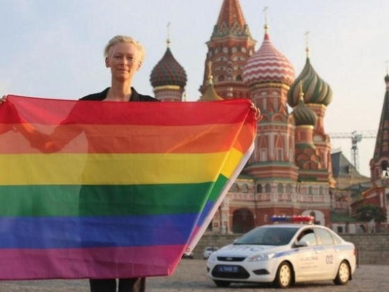 """""""In solidarity. From Russia with love."""" by Tilda Swinton"""